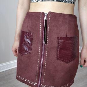 (3/$15) Faux suede cotton zipper pocket skirt